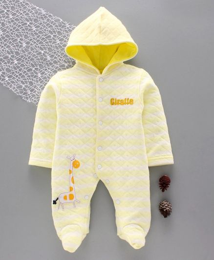 Tappintoes Full Sleeves Winter Wear Hooded Footed Romper Animal Patch - Yellow