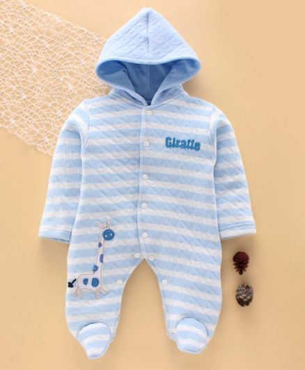 Tappintoes Full Sleeves Winter Wear Hooded Footed Romper Animal Patch - Blue