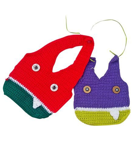 MayRa Knits Monster Pack Of 2 Bibs - Multicolour