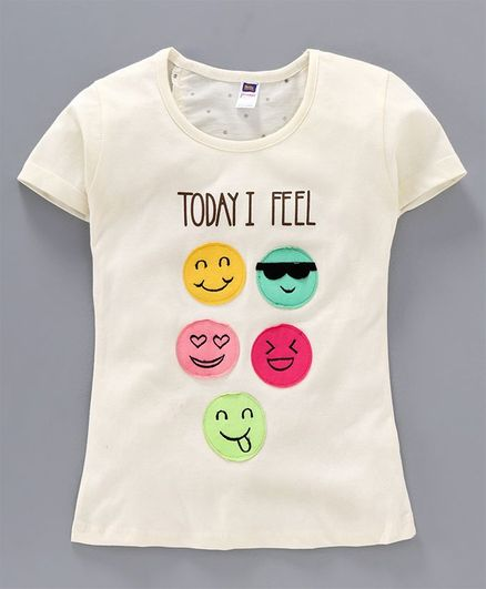 Nottie Planet Half Sleeves Smiley Face Patch Detailing Tee - Off White