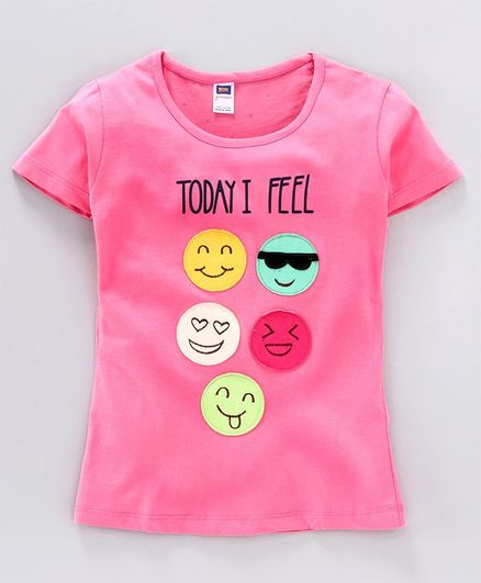 Nottie Planet Half Sleeves Smiley Face Patch Detailing Tee - Pink