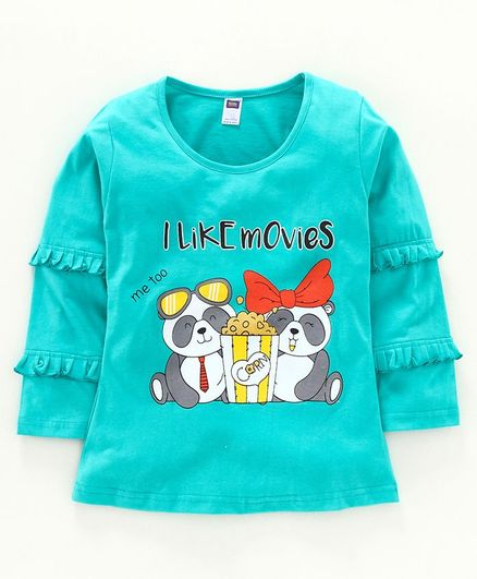 Nottie Planet Full Sleeves Teddy Bear Print T-Shirts - Green