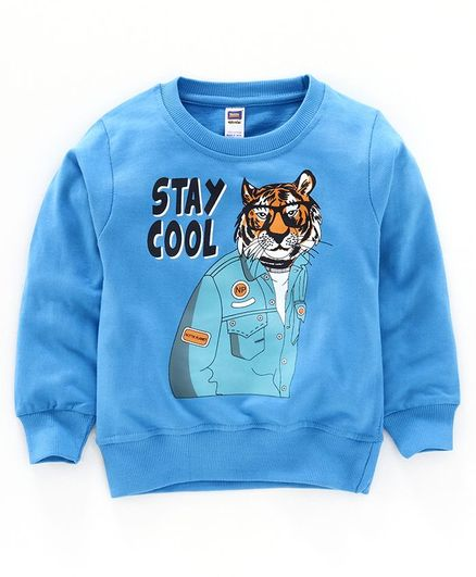 Nottie Planet Full Sleeves Tiger Print Sweatshirt - R.Blue
