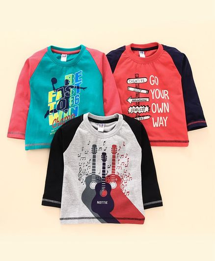 Nottie Planet Pack Of 3 Full Sleeves Guitar Print T-Shirt  - Red Green & Grey