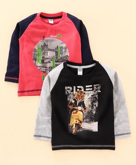 Nottie Planet Pack Of 2 Full Sleeves Tiger In Scooty Print T-Shirt Set  - Black Red