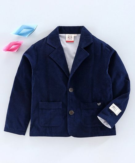 Ed-a-Mamma Full Sleeves Knit Lining Corduroy Jacket - Navy
