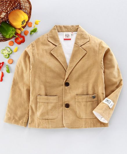 Ed-a-Mamma Full Sleeves Knit Lining Corduroy Jacket - Beige