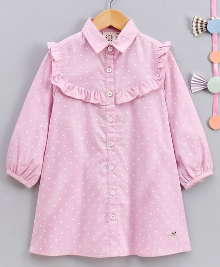 Ed-a-Mamma Full Sleeves Polk Dot Printed Shirt Dress - Light Pink