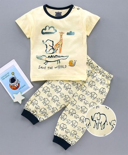 Mini Taurus Half Sleeves T-Shirt & Lounge Pant Set Animal Print - Cream Blue