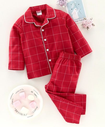 Babyhug Full Sleeves Checked Night Suit - Red
