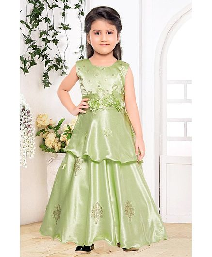 Fiona Flower Embellished At Waistline Sleeveless Gown - Green