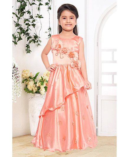 Fiona Flower Embellished Sleeveless Gown - Peach