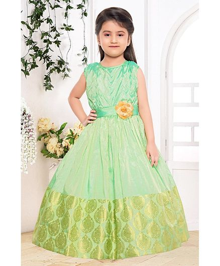 Fiona Flower Applique At Waistline Sleeveless Gown - Green