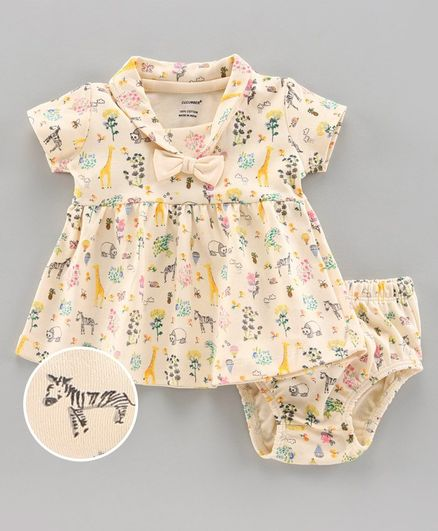 Cucumber Half Sleeves Frock with Bloomer Horse Print - Yellow