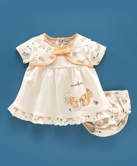 Cucumber Half Sleeves Frock with Bloomer Squirrel Print - Yellow
