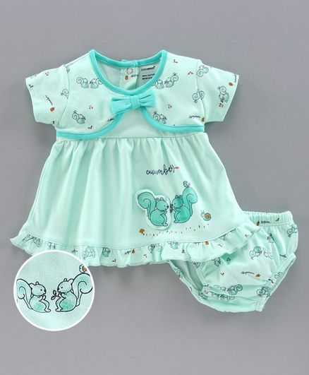 Cucumber Half Sleeves Frock with Bloomer Squirrel Print - Aqua Blue