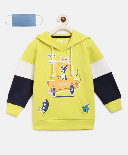 Li'L tomatoes Car Print Full Sleeves Hoodie With 3 Ply Mask - Neon Green