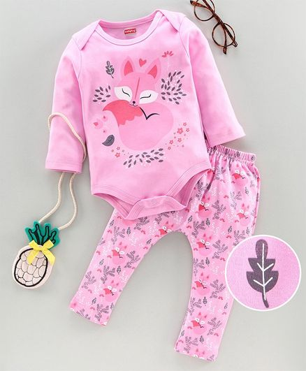 Babyhug 100% Cotton Onesies with Leggings Fox Print - Pink
