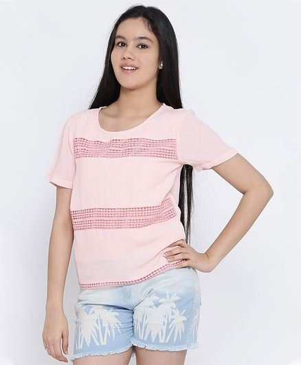 Natilene Half Sleeves Solid Polyester Top - Peach
