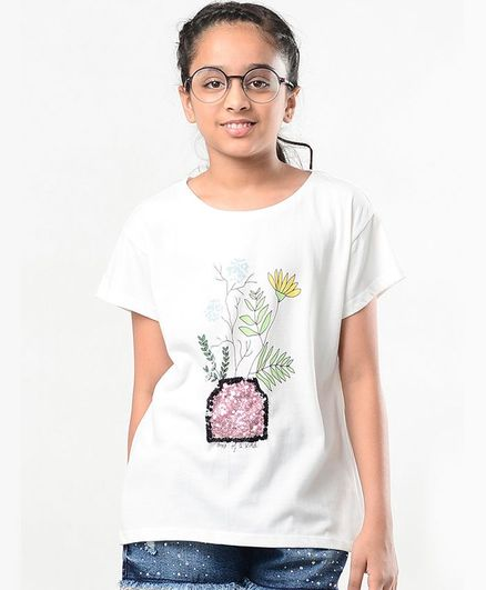 Natilene Half Sleeves Printed Cotton Tee - Offwhite