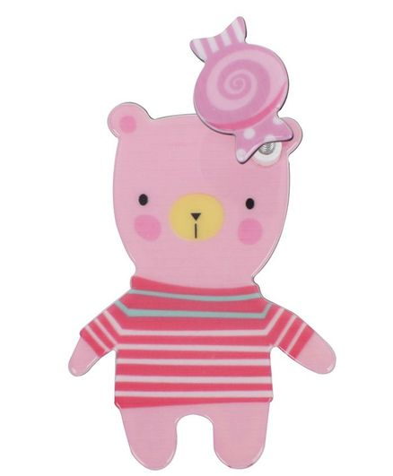 Yellow Bee Teddy With Spring Up Toffee Design Hair Clip - Light Pink