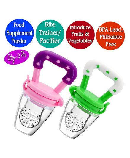 The Little Lookers Infant Silicone Food Nibblers Pack of 2 - Green Pink