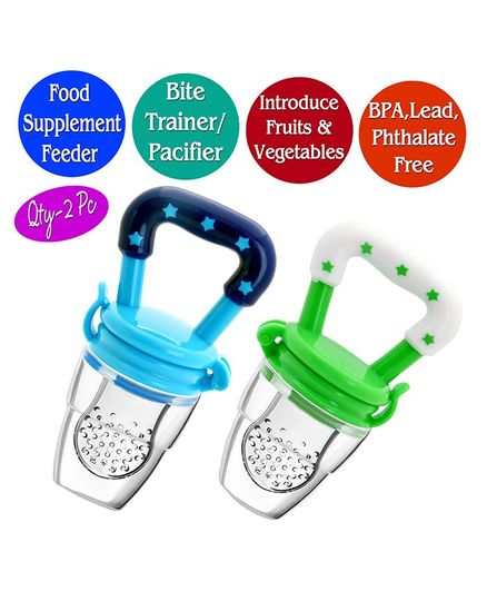 The Little Lookers Infant Silicone Food Nibblers Pack of 2 - Green Blue