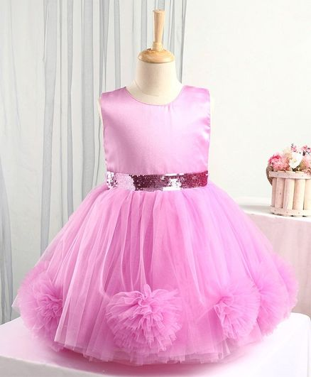 Bluebell Sleeveless Party Frock Sequin Embellished - Pink