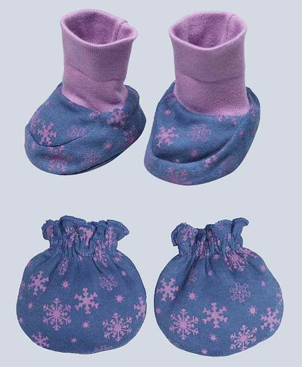 Grandma's Pink Leaves Printed Mittens and Booties Set - Blue