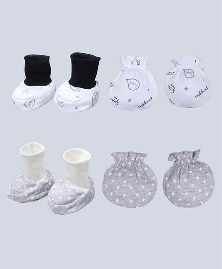 Grandma's White Stars Printed Mittens and Booties Set Pack of 2 - Grey