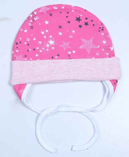 Grandma's Premium Cap with Ear Flaps and Knot - Pink Stars