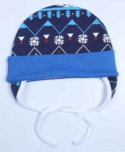 Grandma's Premium Cap with Ear Flaps and Knot - Blue Christmas
