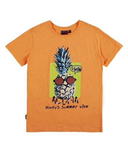 GINI & JONY Half Sleeves Pineapple Print T-Shirt - Orange