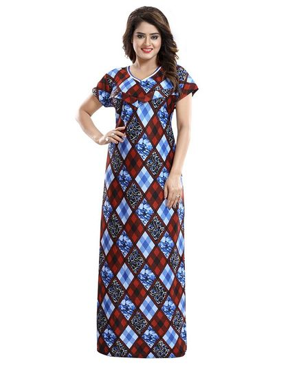 Fabme Maternity & Nursing Short Sleeves Diamond Print Nighty - Red