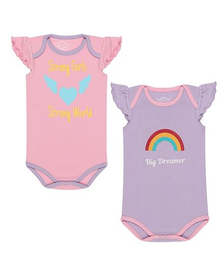 Nap Chief Pack Of 2 Cap Sleeves Strong Girl & Strong World Print Onesie Set - Pink & Purple