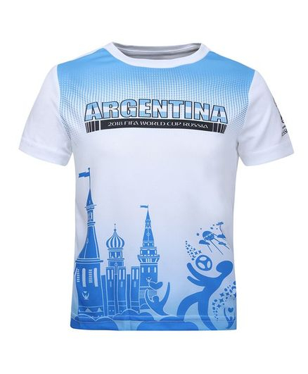 Alcis Half Sleeves Argentina Printed Tee - White