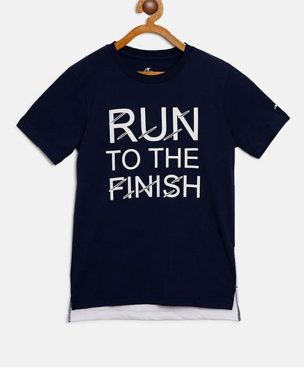 Alcis Half Sleeves Run To The Finish Print Tee - Navy Blue
