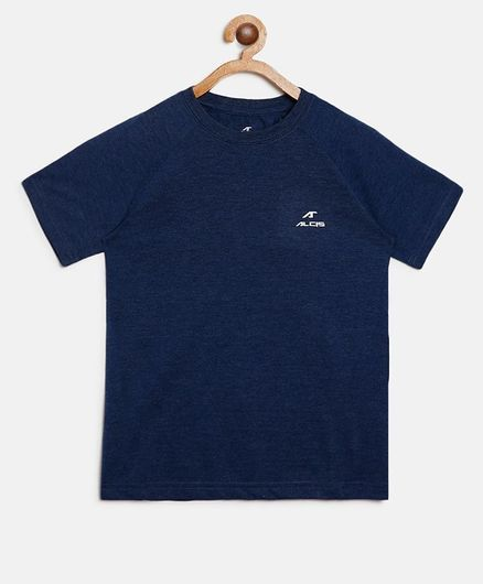 Alcis Solid Melange Half Sleeves Tee - Navy Blue