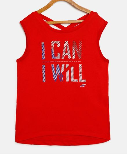 Alcis Printed Sleeveless I Can I Will Print Tee - Red