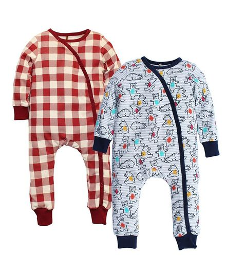 Kadam Baby Pack Of 2 Full Sleeves Checks & Bear Print Bodysuit Set - Grey & Red