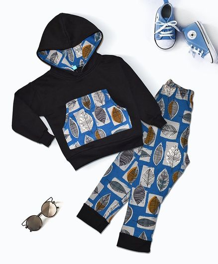 Tiara Full Sleeves Leaves Print Hoodie With Bottom Set - Blue