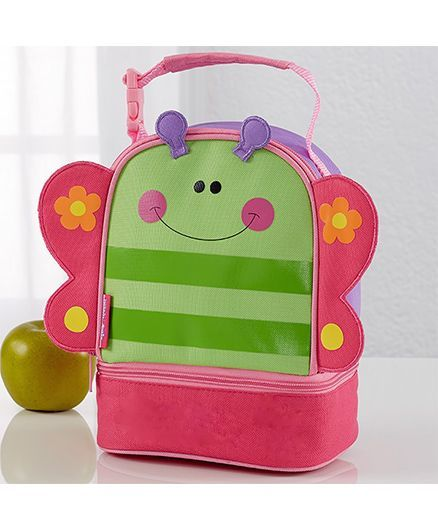 My Gift Booth Butterfly Print Insulated Lunch Bag - Green And Pink
