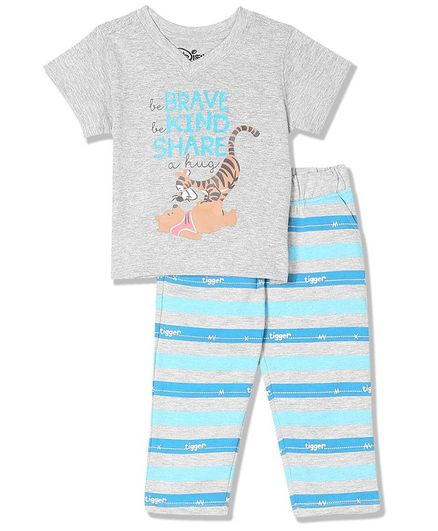 Colt Half Sleeves Winnie The Pooh Printed Tee With Striped Pants - Grey & Blue