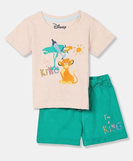 Colt Short Sleeves Simba Print Tee With Shorts - Assorted