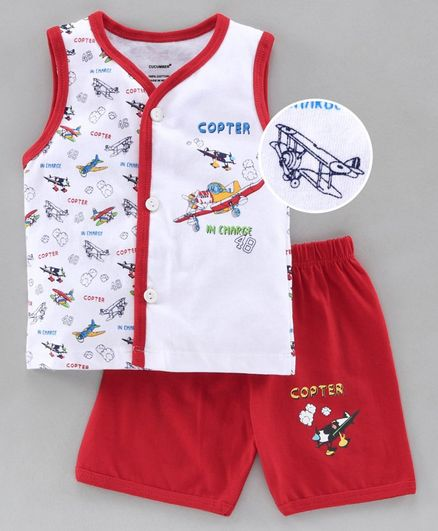 Cucumber Sleeveless Tee & Shorts Set Copter Print - Red