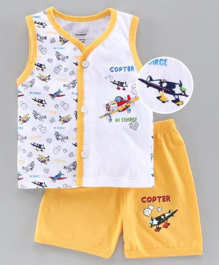 Cucumber Sleeveless Tee & Shorts Set Aircraft Print - Yellow
