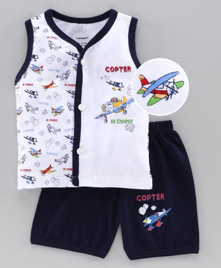 Cucumber Sleeveless Tee & Shorts Set Aircraft Print - Navy