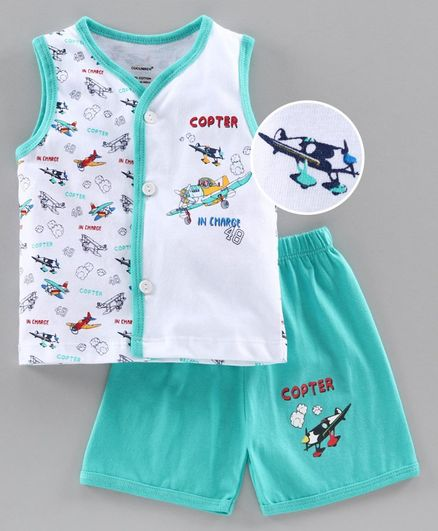 Cucumber Sleeveless Tee & Shorts Set Aircraft Print - Aqua Blue