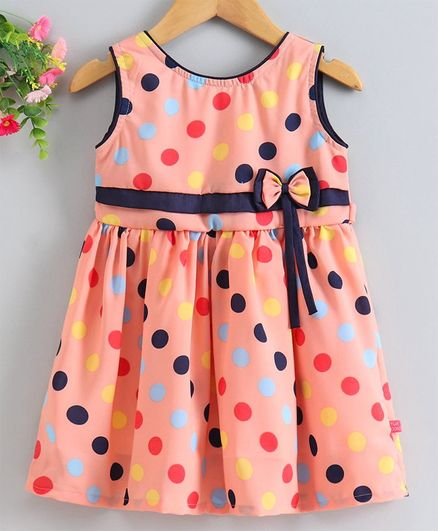 Twetoons Knee Length Sleevless Frock Dots Print - Peach