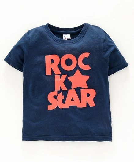 Little Carrot Half Sleeves Rock Star Printed Tee - Dark Blue